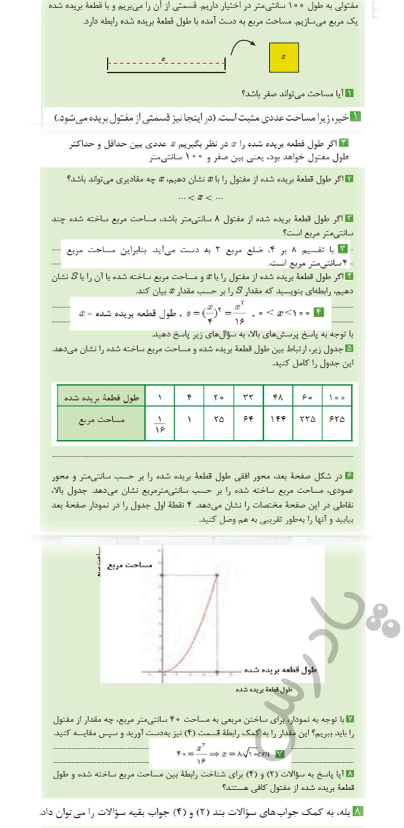 جواب کاردرکلاس صفحه 7 ریاضی یازدهم فنی