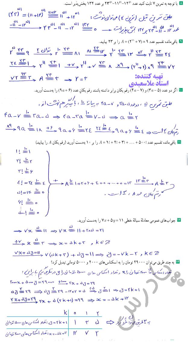 ادامه حل تمرین صفحه 29 ریاضی گسسته دوازدهم