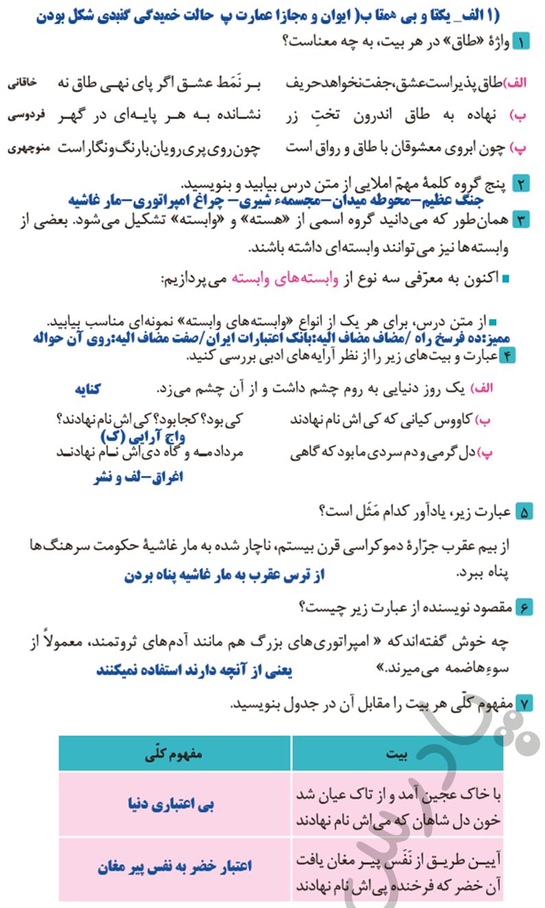 جواب کارگاه درس پژوهی فارسی و نگارش دوازدهم فنی