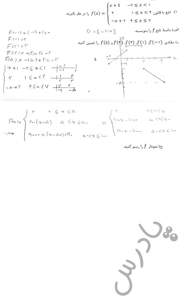 جواب کاردرکلاس صفحه7 ریاضی دوازدهم فنی و حرفه ای