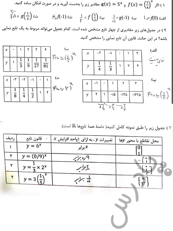 حل مسائل صفحه 33 ریاضی دوازدهم فنی و حرفه ای
