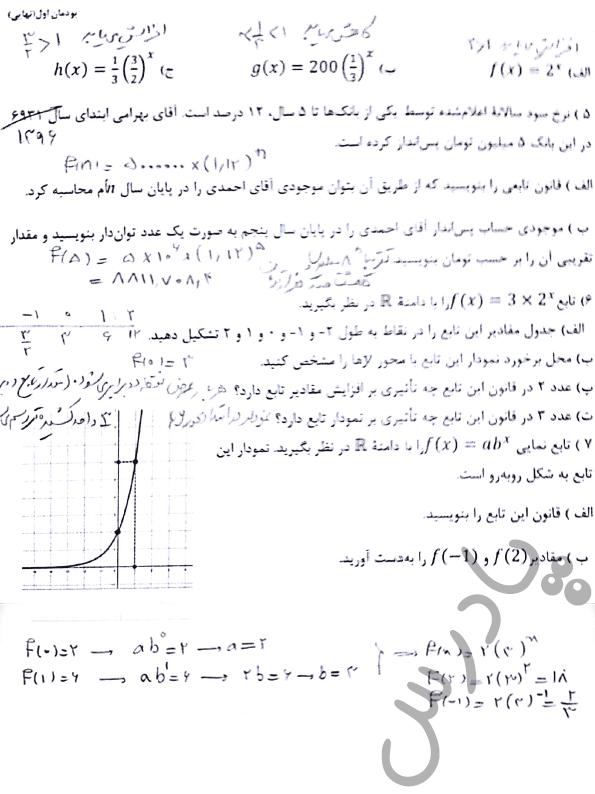 ادامه حل مسائل صفحه 33 ریاضی دوازدهم هنرستان