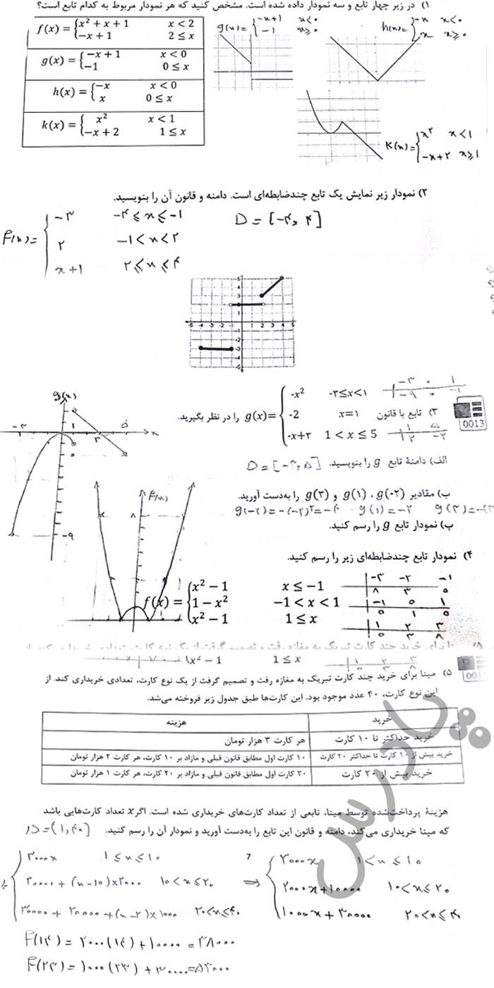 حل مسائل صفحه 8 ریاضی دوازدهم فنی و حرفه ای