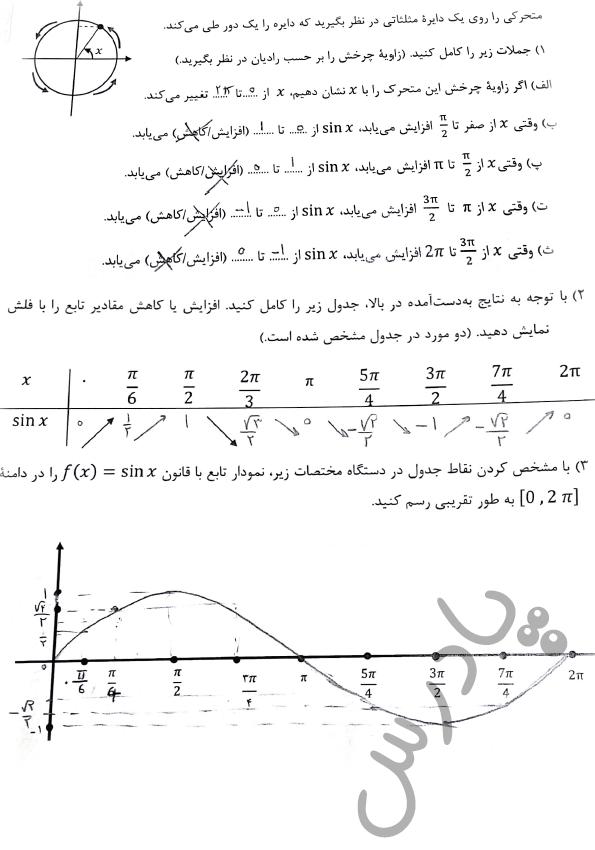 پاسخ فعالیت صفحه 15 ریاضی دوازدهم فنی