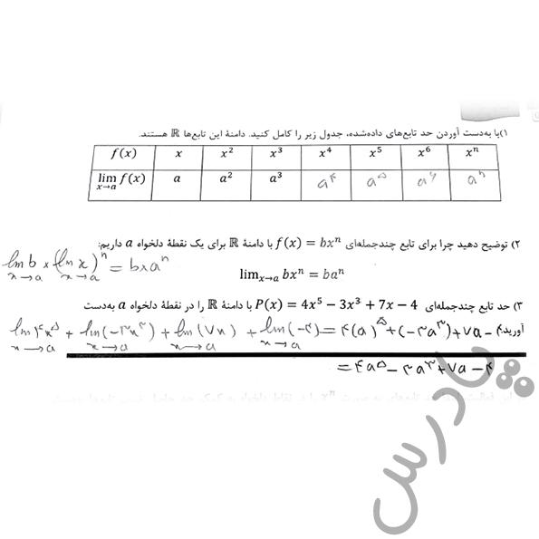 پاسخ فعالیت صفحه 58 ریاضی دوازدهم فنی و حرفه ای