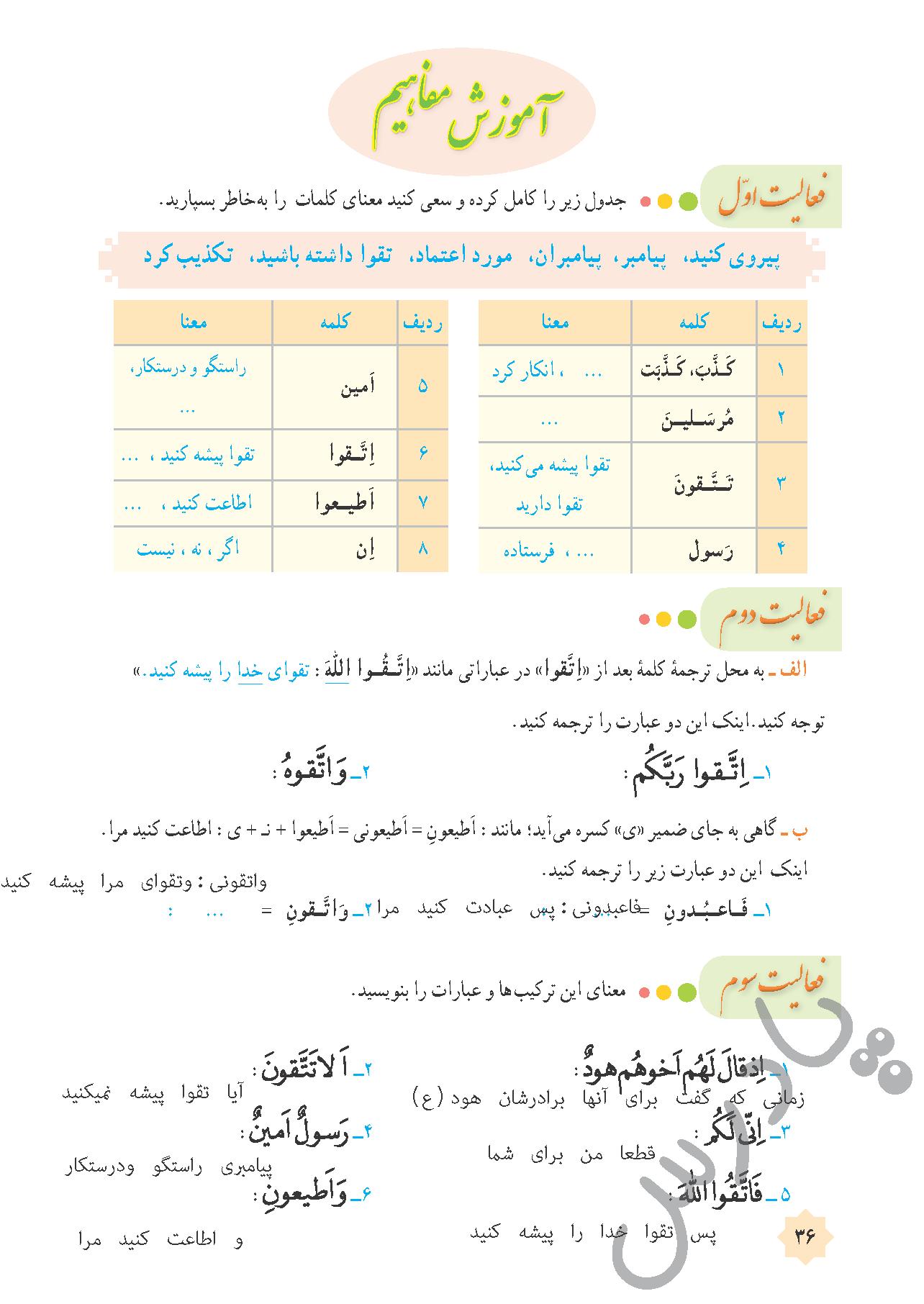 پاسخ فعالیت درس 3 قرآن هشتم - جلسه دوم