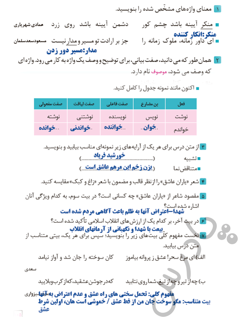جواب کارگاه درس پژوهی درس نهم فارسی و نگارش یازدهم