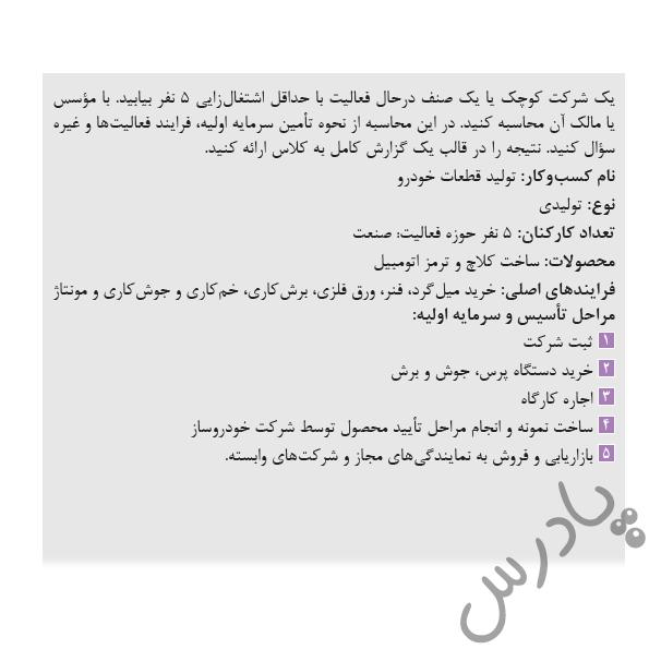 پاسخ فعالیت 7 فصل5 کارگاه نوآوری و کارآفرینی یازدهم