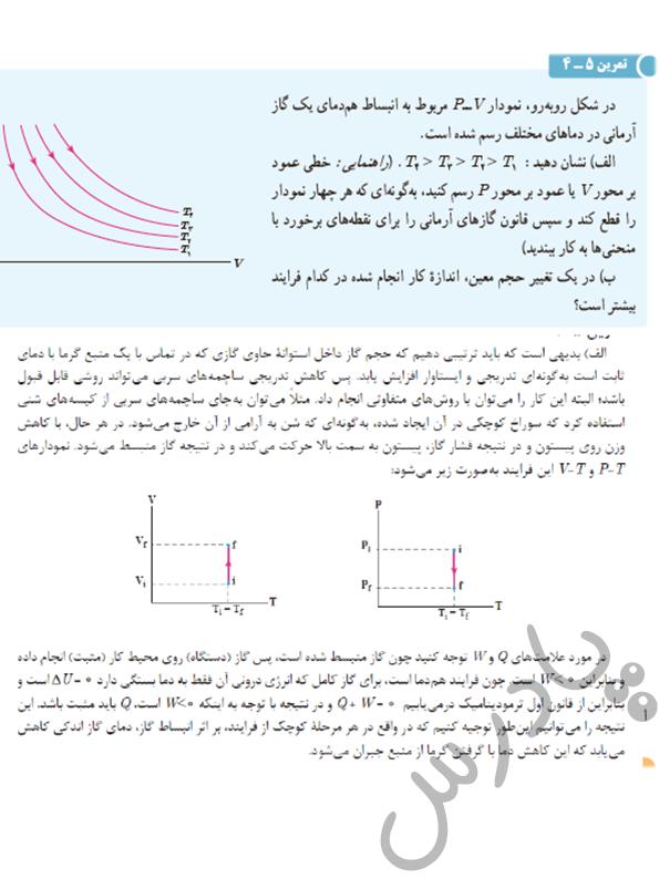 حل تمرین 4 فصل 5 فیزیک دهم
