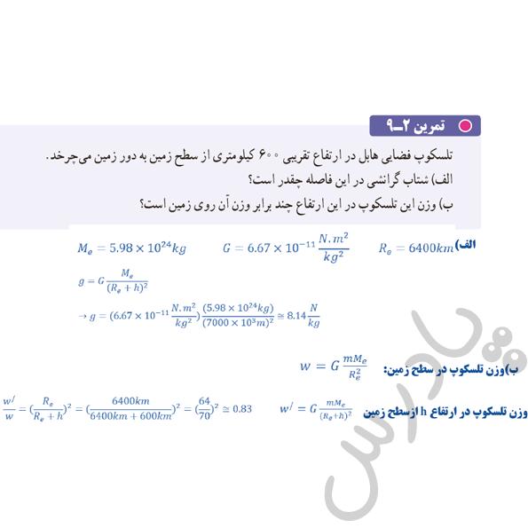 حل تمرین 9 فصل 2 فیزیک دوازدهم تجربی