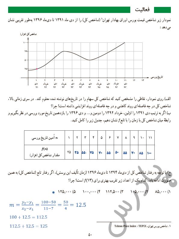 پاسخ فعالیت صفحه 50 ریاضی و آمار دوازدهم