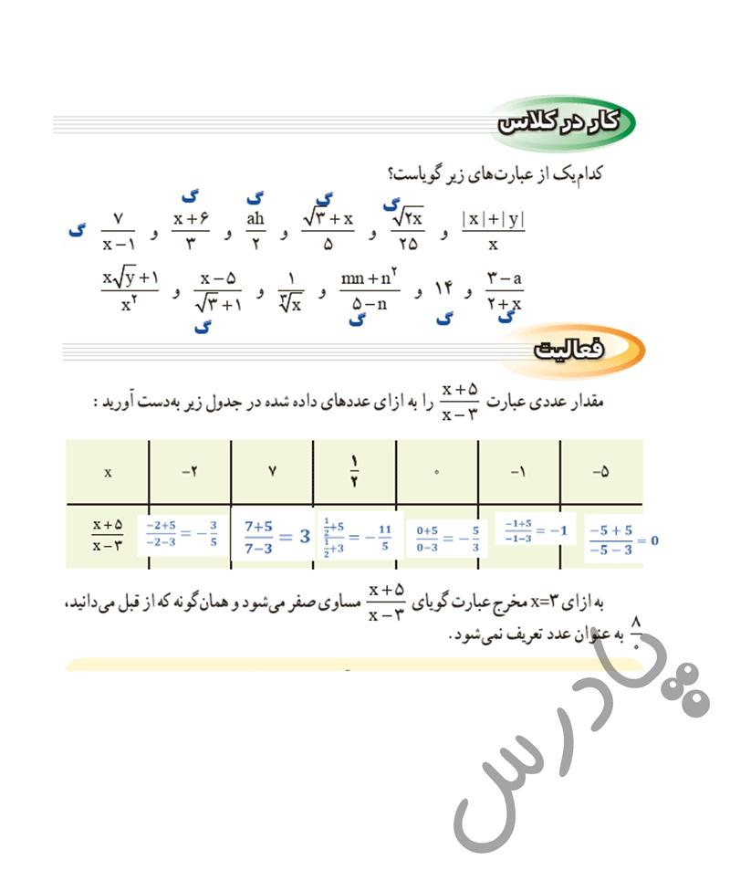 پاسخ کاردر کلاس و فعالیت صفحه115 ریاضی نهم