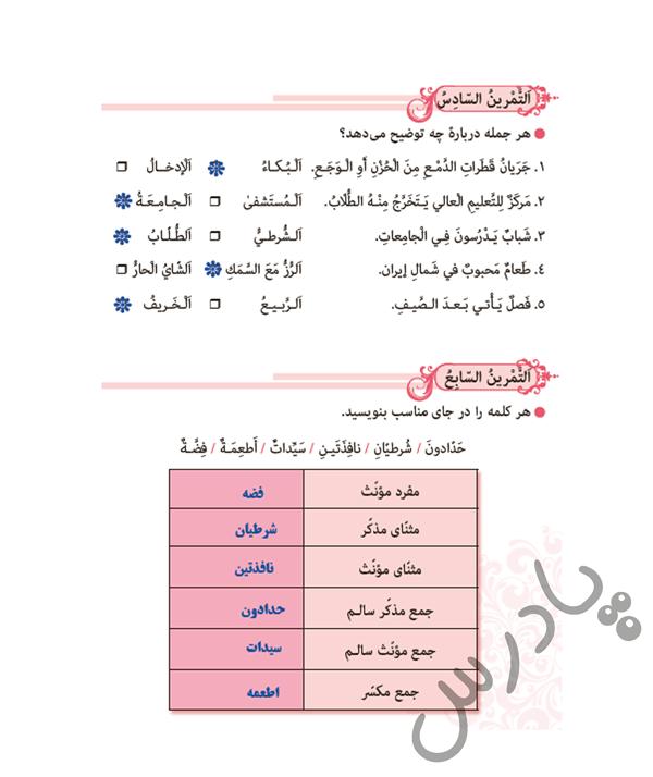 حل تمرین 6 و7 درس 10 عربی نهم