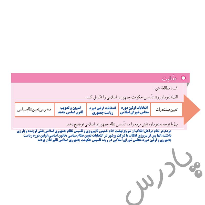 پاسخ فعالیت صفحه 106 مطالعات نهم