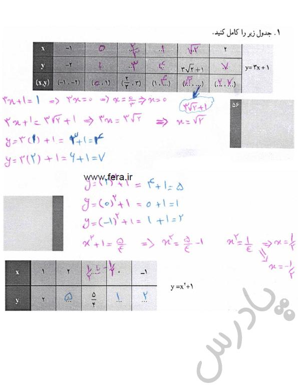 پاسخ فعالیت صفحه 42 ریاضی و آمار دهم